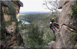 Practising buddy rescue at Portal Lookout, Glenbrook