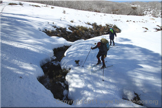 Crossing a creek on the way to Valentine Hut