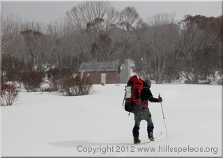 Arriving at Grey Mare Hut in the snow