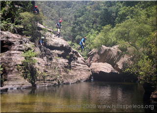 Taking a plunge in the Wollangambe River